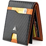 """KJENIUS® """"Galileo"""" Portafoglio Uomo Slim con Protezione RFID in Pelle e Fibra di Carbonio, Zip Portamonete, 13 Porta Carte Cr"""