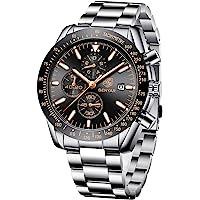BENYAR Orologio da Uomo Cronografo Analogico Movimento al Quarzo Cinturino in pelle Moda Business Sportivo orologio da…