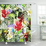 Setyserytu Cortinas de baño/Cortinas de baño, Shower Curtains Landscape Print Tropical Pattern with Blossom Flowers and Leaves Artistic Collage for with Focus Effect Waterproof Polyester