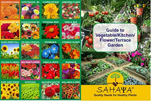 SAHAYA Flower Seeds With Instruction Guide Booklet(20 Varieties)(4190 + Seeds)