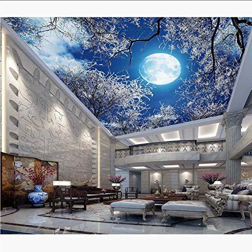 pier Sticker Hd Schnee Baum Himmel Mond Fototapete Wandbild 3D / Seide Tapeten400X280Cm ()
