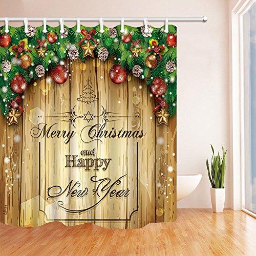 sche Vorhänge für Badezimmer Western Festival Weihnachtsbaum und Geschenk Holz Textur Kulisse Polyester Stoff wasserdicht Bad Vorhang Duschvorhang Haken enthalten 70.8X70.8in (Western-kulissen)