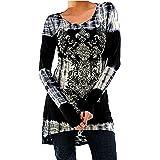 Inlefen Blusas Tallas Grandes Camisetas Góticas Vestidos Vintage Impreso Jersey Largo Cuello Redondo Blusas Manga Larga Blusa