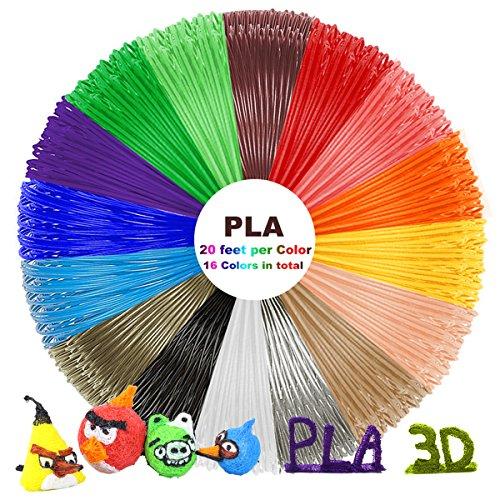 PLA Filament 1.75mm – 3D Stift Filament, 3D Stift Farben für 3D Pen, 3D Drucker-Stift, 3D Stift, 3D Drucker 16 PCS, 6M