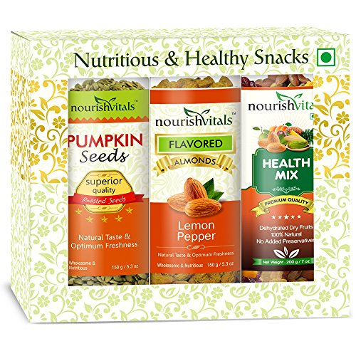 Nourish Vitals Roasted Pumpkin Seeds 150 Gms + Almonds Lemon Pepper Flavored 150 Gms + Health Mix Dried Fruit 200 Gms (dehydrated Fruits) Gift Box