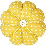 Wrist Pin Cushion Wearable Pumpkin Shape Sewing Pin Cushion for Needlework Sewing (Yellow)