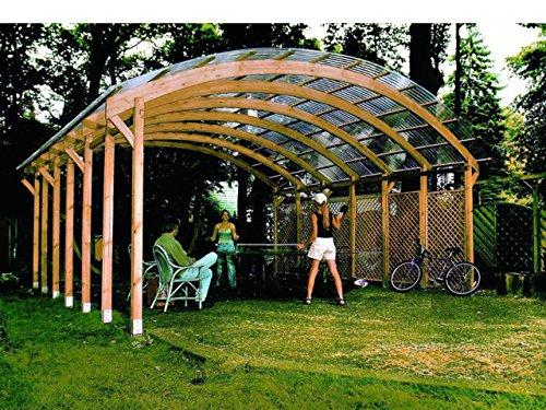 Mio-giardino conwy double - tettoia carport in legno con copertura in pvc corrugato - misure: h320 x 600x600 cm