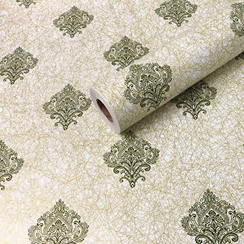 Pvc Wasserdicht Verdickte Tapete 0,45 X 10 Meter Lange Schlafzimmer Tapete Pastoral Blume Wohnzimmer Kinderzimmer Dekoration. Grün-Bedeutung Gold