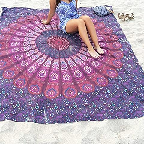 Feichen rectángulo mantel redondo Chifón de tapiz indio Mandala toalla de playa chal Manta de picnic