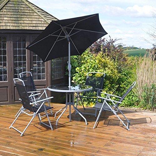 Kingfisher FS6DL Deluxe Garden Furniture Patio Set - Black (6-Piece)