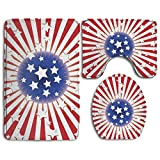 cleaer Amercian Flag Seamless Patriotic Stars Thicken Skidproof Toilet Seat U Shaped Cover Bath Mat Lid Cover