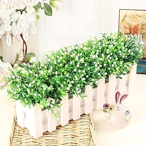 Fiori artificiali ShiQi vero tocco di fiori finti in plastica Vaso di fiori di ornamenti Soggiorno Festival Home giardino decorazione di nozze 30 White Picket Fence White Orchid paglia