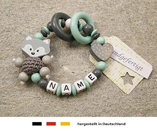 kleinerStorch Baby Greifling Beißring geschlossen mit Namen | individuelles Holz Lernspielzeug als Geschenk zur Geburt & Taufe | Mädchen & Jungen Motiv Fuchs und Herz in grau mint