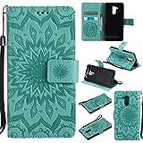 (Sleeping Bear) Coque/Etui Housse Pour Huawei Ascend Honor 5C, Exquise Elégant Totem de Tournesol le Motif en Relief PU Etui en Cuir, [Avec cordon Strap/Corde] Carte de Crédit /Comptant Slots Holder Wallet Ultra Slim Flip de Téléphone étui /Case Cover + Stylus.---Vert