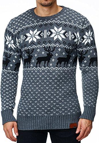 MT Styles norvégien pull en tricot 1531 Gris