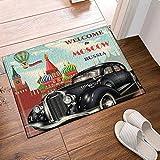 Aliyz Coche Viejo y Castillo bienvenidos a Moscú Rusia casa habitación Hotel Puerta Piso Alfombra baño Dormitorio Cocina Sala Estar Alfombra Infantil Antideslizante Material Franela 40x60cm