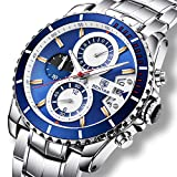 Watches Men Luxury Steel Band Quartz Analogue Business Wrist Watch with Chronograph Date Waterproof Men's Watch,Silver Blue