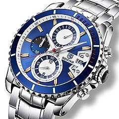 Idea Regalo - Orologi Business Luxury Steel Band analogico al quarzo Orologio da polso uomo con cronografo data impermeabile da uomo, argento blu