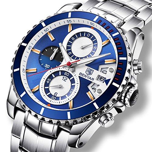 Uhren Herren Luxus Stahl Band Analog Quarz Business Armbanduhr mit Chronograph Datum Wasserdicht Herren-Armbanduhr, Silber Blau