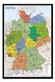 iPosters Deutschland Karte Pinnwand–Kork Board mit Pins gerahmt in schwarz Holz inkl. Stecknadeln, 96,5x 66cm (ca. 96,5x 66cm)