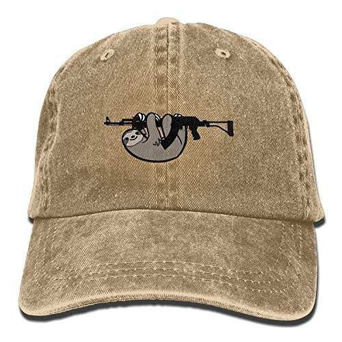 Men&Women Sloth Love Guns Funny Adjustable Vintage Washed Denim Cotton Dad Hat Baseball Cap Red cool caps - Tab Roses And Guns