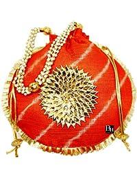 Bombay Haat Ethnic Rajasthani LEHARIYA Potli Bag for Ladies,Bridal Clutch, Purse for Party, Wedding, Wedding Gift