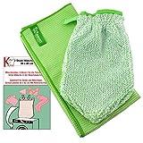 Jemako® Set grün Handschuh + Trockentuch 40 x 45 cm Fenster / Haushalt / Glas plus 2 Stück K7plus® Wäschenetz / Wäschesack