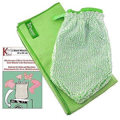 Jemako® Set grün Handschuh + Trockentuch mittel 45 x 60 cm Fenster / Haushalt / Glas plus 2 Stück K7plus® Wäschenetz / Wäschesack