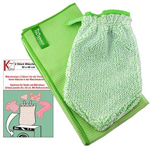 Jemako® Set grün Handschuh + Trockentuch 40 x 45 cm Fenster / Haushalt / Glas plus 2 Stück K7plus® Wäschenetz / Wäschesack (Fenster, Herd)