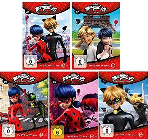 Miraculous - Geschichten von Ladybug und Cat Noir - Original DVD zur TV-Serie - Folge/DVD 1-5 im Set - Deutsche Originalware [5 DVDs]