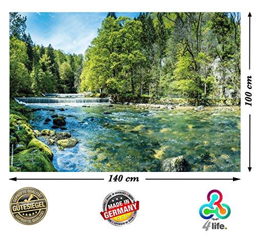 Bach, hochauflösendes Bach-Poster XXL, Natur Poster XXL, großes Fotoposter, 140x100cm | Landschaft Bäume Bachlauf Wasserfall | (Poster Wand)
