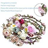 Damen Blumen Stirnband Krone - Böhmen Exquisit Pinienkerne Girlande Stirnbänder(AWAYTR) (Licht khaki+Hell-Pink) -