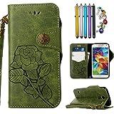 LEMORRY Samsung Galaxy S5/G900F Hülle Tasche Ledertasche Beutel Schutz Magnetisch mit Kartenschlitz Weich TPU Silikon Flip Cover Schale Handyhülle für Galaxy S5, Retro Roses (Grün)