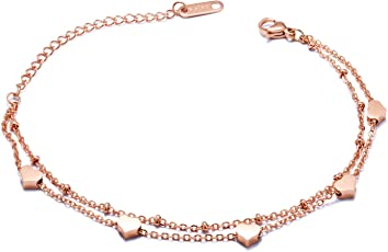 MaiWeizen Fußkettchen Fußkette Armband Armkette, Damen Frauen Mädchen Edelstahl BFF Ketten Freundschaftsketten Doppelte Ketten mit Herz Herzchen Perlen größebverstellbar in Rose Gold Farbe