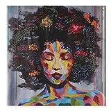 Raybre Art Abstract art 60 x 60 cm Bilder Kunstdrucke auf Leinwand Ohne Rahmen - Ölgemälde Indien Afrikanische Mode Frau mit Geschlossenen Augen - Wandbild Gemälde Moderne für Wandkunst Hauptdekoration