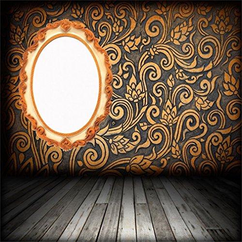 YongFoto 1,5x1,5m Foto Hintergrund Shabby Chic Damast wirbelt Magic Mirror Wallpaper Vintage trübe Streifen Holzboden Fotografie Hintergrund Fotoshooting Portrait Party Kinder Fotostudio Requisiten