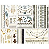 ChicTats Brillantes tatuajes temporales de color metálico dorados y plateados - Arte corporal llamativo y joyería para mujeres y chicas – Maquillaje corporal/adhesivos/tatuajes de moda resistentes al agua – Pack de 5 hojas