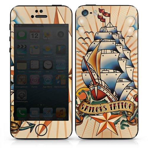 Apple iPhone 5 Case Skin Sticker aus Vinyl-Folie Aufkleber Schiff Anker Sterne DesignSkins® glänzend