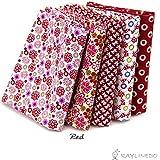 Raylinedo® 15x patrón de diferentes diseño de patchwork 100% algodón popelín Tela Bundle cuadrados de 20* 25cm Colchas álbumes Artcraft Proyecto Collection One, Rojo, 46*56cm X 5pcs