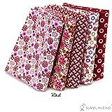"RayLineDo® 5X Different Pattern Red 100% Cotton Poplin Fabric Fat Quarter Bundle 46 x 56cm ( Appox 18"" x 22"") Patchwork Quilting Fabric"