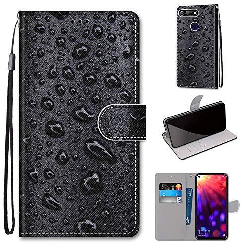 Miagon Flip PU Leder Schutzhülle für Huawei Honor View 20/V20,Bunt Muster Hülle Brieftasche Case Cover Ständer mit Kartenfächer Trageschlaufe,Wasser Tropfen