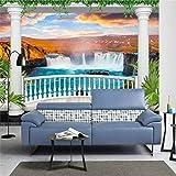 ShAH Custom 3D Wallpaper Europäischen Garten Balkon Wasserfall Landschaft Wandbild Sofa Wohnzimmer Tv-Kulisse Wand Dekor 3D Tapete Hintergrundbild Wallpaper Wandmalerei Fresko Mural 300cmX200cm