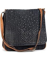 styleBREAKER Jeans Umhängetasche mit Strass Applikationen, Handtasche 02012004