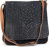 styleBREAKER Jeans Umhängetasche mit Strass Applikationen, Handtasche 02012004, Farbe:Schwarz