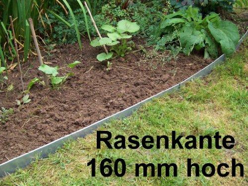Rasenkanten aus Edelstahl, V2A , 160 mm hoch, Beeteinfassung, 4er Set