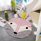 Here&There Baby Teppich Matte Kinderteppich Kinderzimmer Schlafzimmer Wohnzimmer Boden Tier Babyzimmer Mädchen Dekoration Spielteppich Handball Ballmatte (80 x 80 cm, Fuchs)