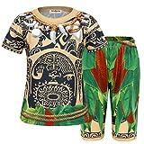 AmzBarley Moana Maui Kostüm Kinder Jungen Tätowierung Schlafanzüge Pjs Pyjama, Braun Kurz, 7-8 Jahre