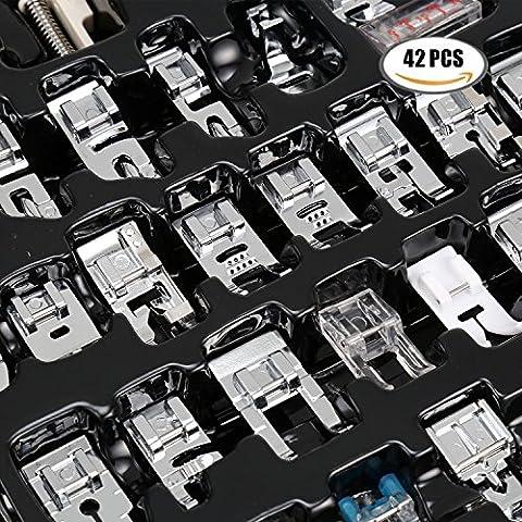 Homdox Sewing Machine Presser Walking Feet Kit Set Professional Domestic Compatible 42 Pcs