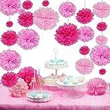 SUNBEAUTY 27er Set Pink Rosa Serie Seidenpapier Pom Poms Blumen Hochzeit Party Hanging Dekorations von