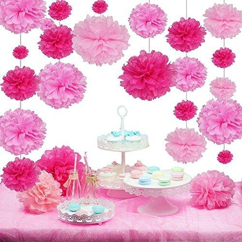 27er Set Pink Rosa Serie Seidenpapier Pom Poms Blumen Hochzeit Party Hanging Dekorations von SUNBEAUTY